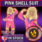 FANCY DRESS COSTUME # LADIES 1980'S SCOUSER PINK SHELL SUIT TRACKSUIT SMALL SIZE 8-10 + WIG